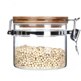 Storage Jar With Bamboo Lock Heat Resistant Glass